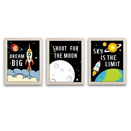 HPNIUB Framed Outer Space Art Print Set of 3 (10