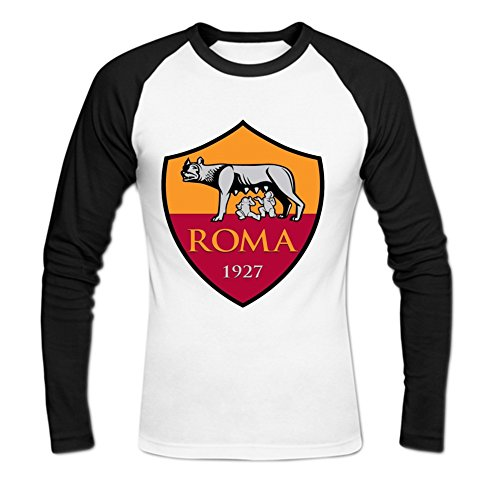 [Men's Long-Sleeve AS Roma Football Club Baseball Tee Shirts By Sadytui S White] (Football Club Cotton)