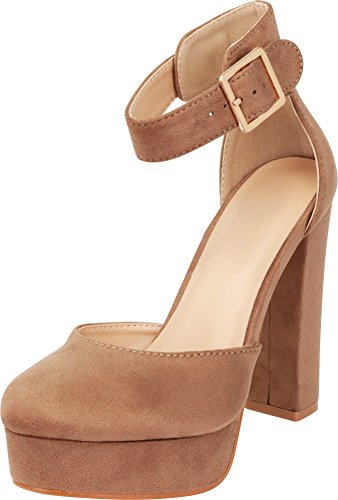 Cambridge Select Women's Closed Round Toe Buckle Thick Ankle Strap Chunky Platform Wrapped High Heel Pump (9 B(M) US, Taupe IMSU)