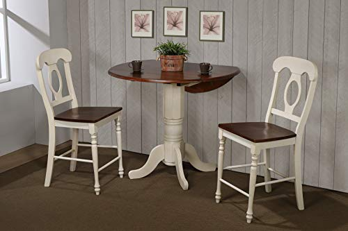 Sunset Trading DLU-ADW4242CB-B50-AW3PC Andrews Pub Table Set, Distressed Antique White with ()