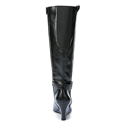 Life Stride Womens Riddle Knee High Wedge Boot Black Polyurethane Us 5 5 M