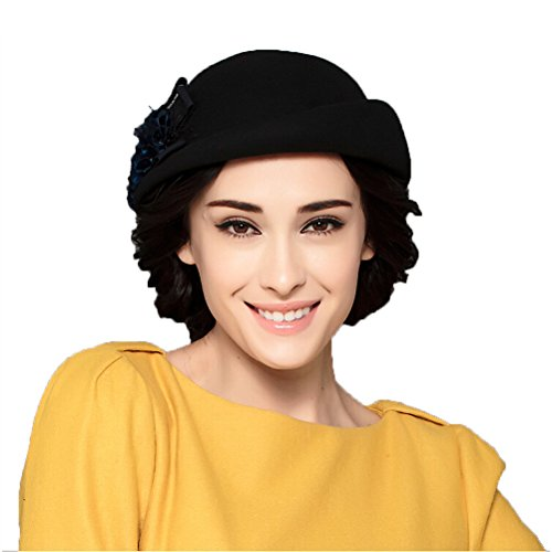 Maitose™ Women's Lace Flower Wool Beret Cap Black (Wool Hat Lace)