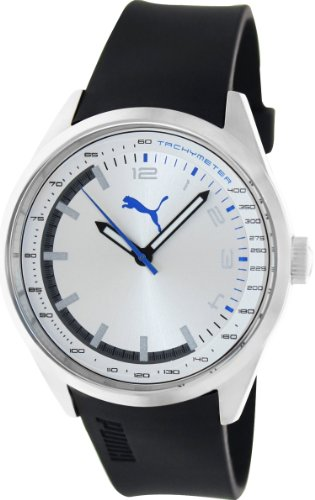 Puma Men's PU103481003 Black Silicone Analog Quartz Watch with Silver Dial