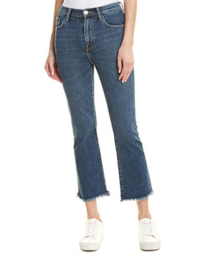 Current/Elliott Womens The High Waist Kick Jean Peacenik Straight Leg, 25, Blue