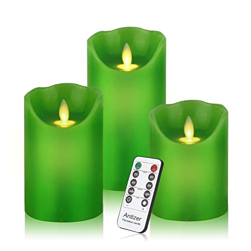 Antizer Flameless Candles 3 Pack Set Drip-Less Real Wax LED Pillars Include Realistic Flickering Flames and 10-Key Remote Control with 24-Hour Timer Function 400+ Hours by 2 AA Batteries (Green)