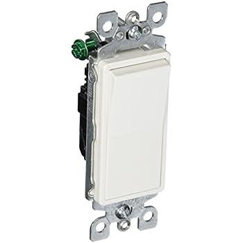 Leviton 5601-2W 15 Amp, 120/277 Volt, Decora Rocker Single-Pole AC Quiet Switch, Residential Grade, Grounding, White