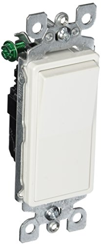 Leviton 5601-2W 15 Amp, 120/277 Volt, Decora Rocker Single-Pole AC Quiet Switch, Residential Grade, Grounding, White ()