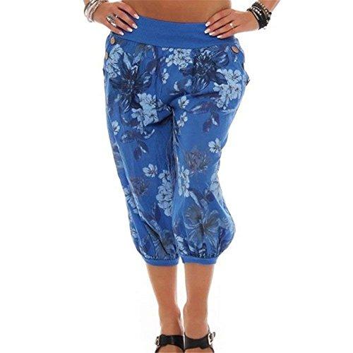 Élégant Léger D'été Chic Dames Confortable Imprimer Plage Libre Haute Mignon Pantalons Harem Femmes Pluderhose Temps Bleu 4 Taille 3 Large nIftq