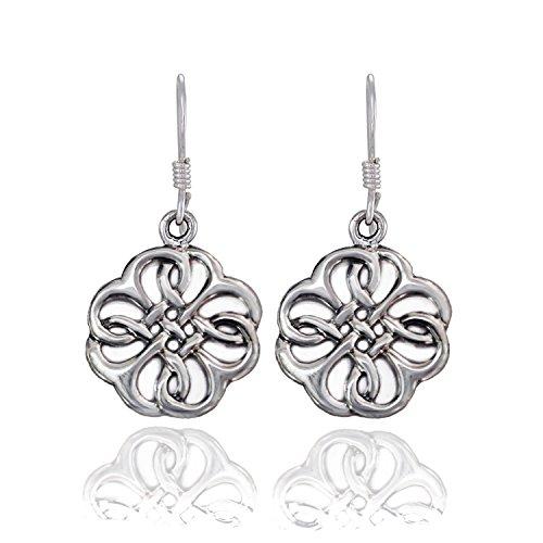 Celtic Knot Flower Ring (925 Sterling Silver Celtic Knot Flower Shamrock Dangle Earrings)