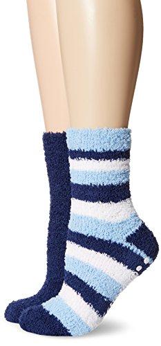 Pack Crew Sock 2 Navy (Dr. Scholl's Women's 2 Pack Spa Stripe Crew Socks, Navy/Light Blue/White, Shoe Size 4-10 (Medium))