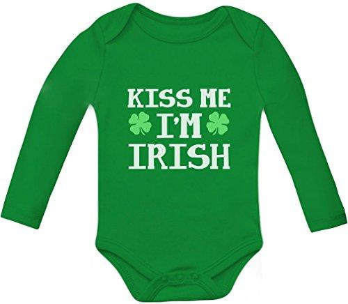 Tstars Kiss Me I'm Irish Cute Babies ST. Patrick's Day Infant Baby Long Sleeve Bodysuit 6M Green