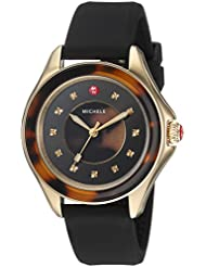 MICHELE Womens Cape Quartz Stainless Steel and Silicone Casual Watch, Color:Brown (Model: MWW27A000027)