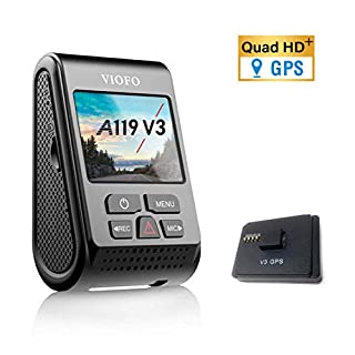 VIOFO A119 V3 2K Dash Cam 2560x1600P Quad HD+ Car Dash Camera, Ultra Clear Night Vision, 140-Degree Wide Angle, GPS Included, Buffered Parking Mode, True HDR, Motion Detection, G-Sensor, Time Lapse