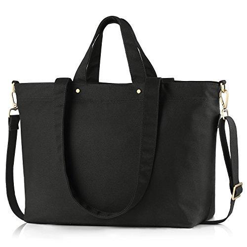 BONTHEE Canvas Tote Bag Handbag Women Large Shopper Shoulder Bag for School Travel Work - Black - Large Zipper Tote Bag