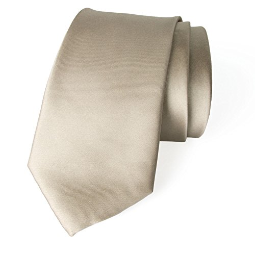 Spring Notion Men's Solid Color Satin Microfiber Tie, Regular Champagne