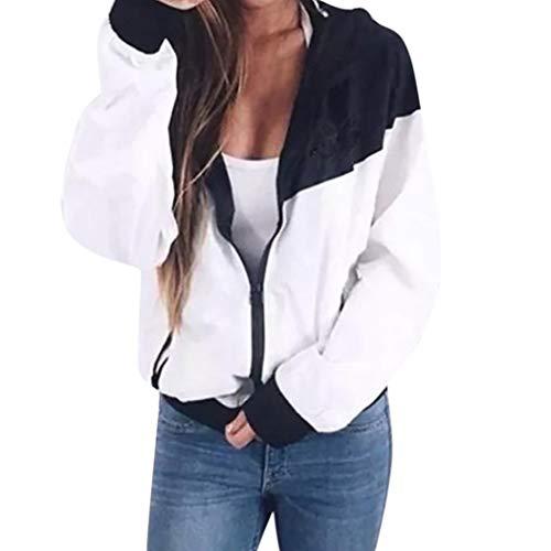 Sport Manteau Femme,Manches Longues Patchwork Skinsuits Mince Coat Veste  Capuche Coupe-Vent Bringbring Blanc