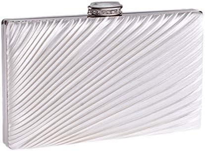 LKJASDHL スモールスクエアミニクラッチバッグイブニングパーティーバッグ折りたたみ布バッグダイヤモンドレディーバッグディナーバッグチェーンスモールスクエアバッグバンケットハンドバッグカジュアルフォーマルエブリデイバッグ (色 : Silver)