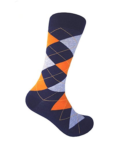Men's Navy Argyle Dress socks Navy/Orange/Heather Gray,One size fits most men; Sock Size 10-13. (Mens Orange Dress Socks)