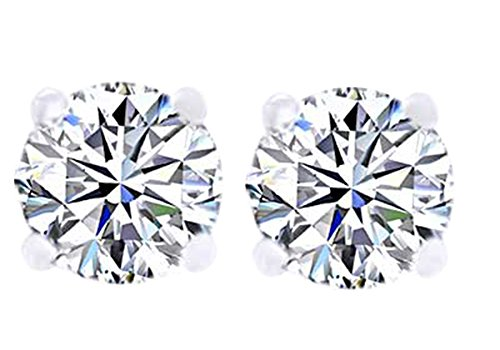 Round Cut Natural White Diamond Solitaire Stud Earrings In 10K White Gold (0.25 cttw)