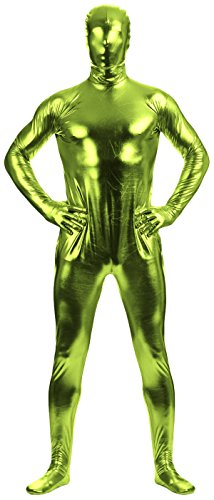 [VSVO Adult Fruit Green Shiny Metallic Full Cover Zentai Supersuit Costume (Small, Fruit Green)] (Latex Wolf Suit)