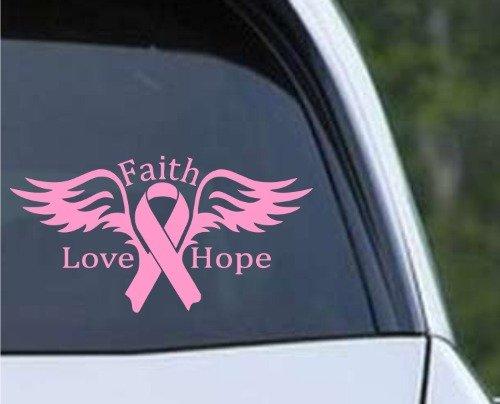 (Breast Cancer Angel Faith Love Hope Pink Ribbon Die Cut Vinyl 6