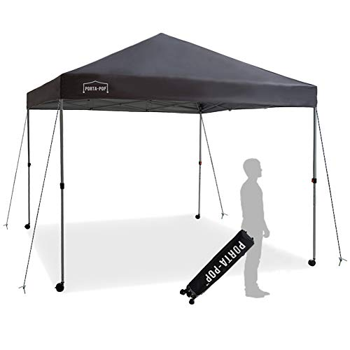 PORTA-POP One Button Easy Pop Up Portable Folding Outdoor Canopy with 4 Wheels and Deluxe Carry Bag, 10×10 ft, Dark Grey
