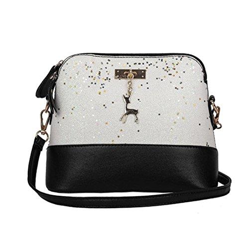 WILLTOO Womens Sequins Bag Fashion Handbag Purse Crossbody Shoulder Messenger Bag Deer (White) (Bag Sequin Tote Hobo)
