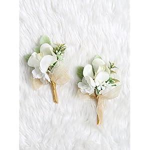 Secret Garden Tropical Boutonniere Pin Mokara Orchids Wedding Party (Gold Theme)(2pcs) 34