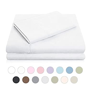 MALOUF Double Brushed Microfiber Super Soft Luxury Bed Sheet Set - Wrinkle Resistant - Twin Size - White