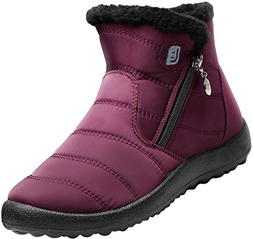JOINFREE Womens Water Resistant Winter Boots Snow Shoe Elastic Band Middle Wine Red 6.5 M US