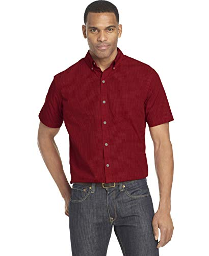 Van Heusen Men's Wrinkle Free Short Sleeve Button Down Check Shirt, Rusty Red Minicheck, Medium