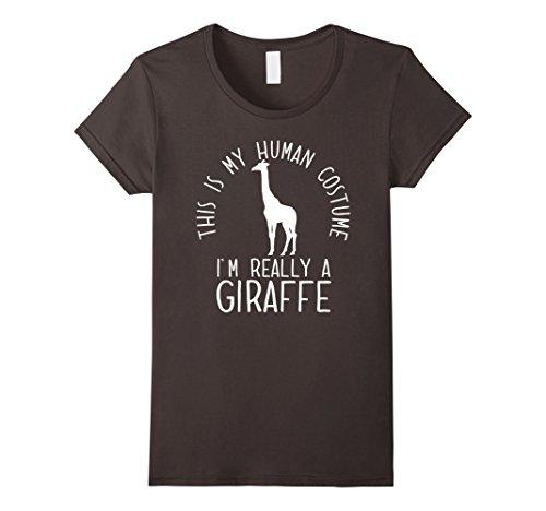 Scary Giraffe Costume (Womens Funny Human Costume Giraffe T-Shirt Large Asphalt)