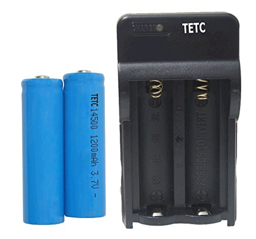 TETC 2 Pcs 14500 1200mah Li-ion 3.7v Rechargeable Battery (Blue)+dual charger