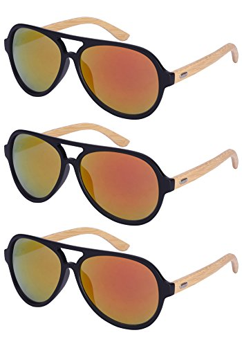 Edge I-Wear 3 Pack Retro Aviators Style Bamboo Wood Sunglasses Mirrored Lens Single Color - Los Sunglasses Angeles