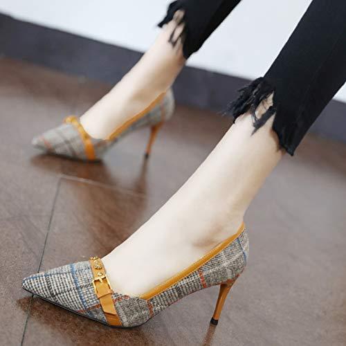 da semplice YMFIE sexy scarpe temperamento moda europeo scarpe stile lavoro punta alto bocca Unico tacco scarpe brown superficiale qqwRZHpxA