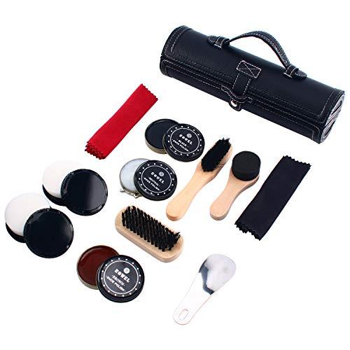 Homend Shoe Care Kit Travel Shoes Shine Brush Polish Kit with PU Leather Sleek Elegant Case ()