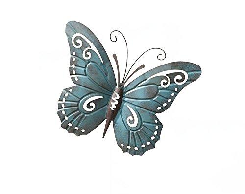 18'' Metal Blue Butterfly Wall Hanger Wall Art Garden Decor
