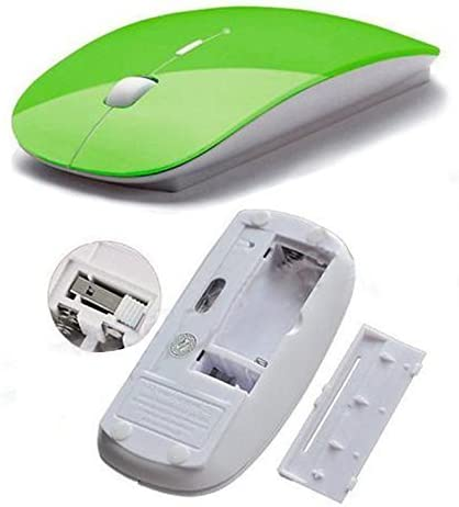 Green XYD Optical Wireless Mouse 2.4G Receiver Ultra-thin Mouse for Computer PC Laptop Desktop