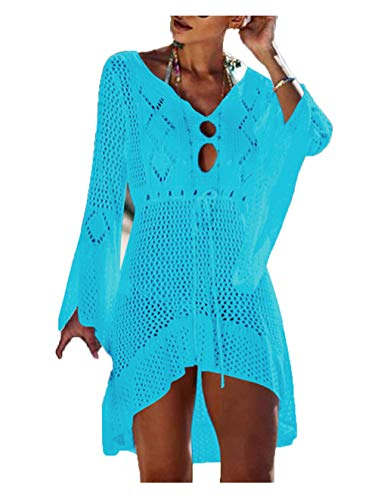 Wander Agio Beach Tops Sexy Floral Knit Cover Dresses Bikini Cover-ups Net Hollow Out Light Sky Blue