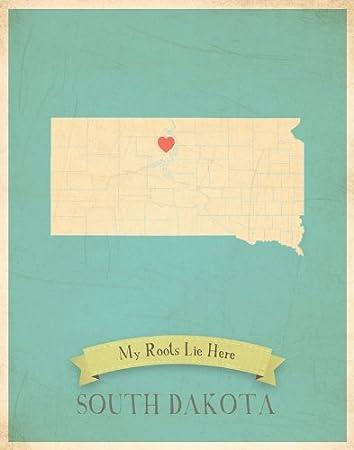 My State Map.Amazon Com South Dakota My Roots State Map Art Print Nursery