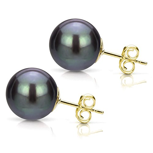 14k-Yellow-Gold-10-105mm-Dyed-black-Round-Freshwater-Cultured-High-Luster-Pearl-Stud-Earrings
