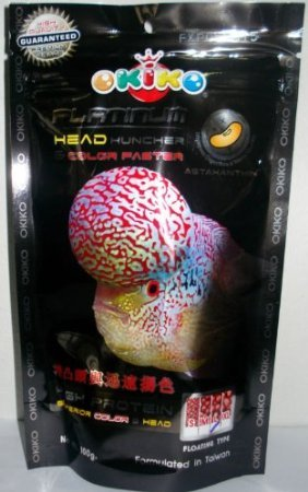 Okiko fish food Platinum head huncher high protein & calcium / black 100 g .x 2 Pcs. ()