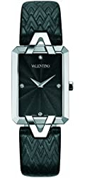 Valentino Women's V36SBQ9909SSB09 Gemme Rectangular Stainless Steel Charcoal Leather Watch