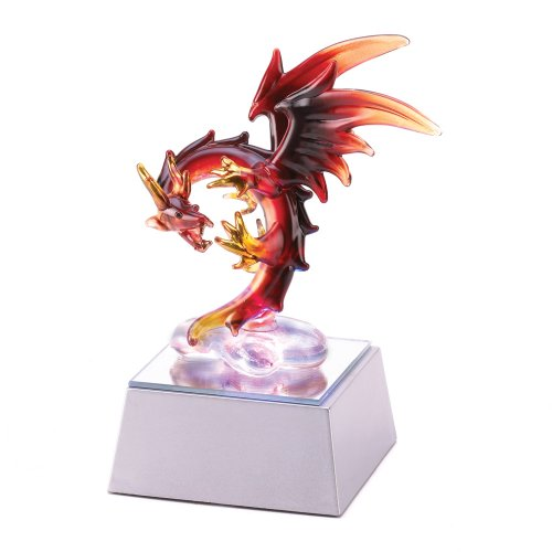 Gifts & Decor Spun Glass LED Light Up Mythic Dragon Home Decor Figure