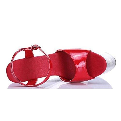 Alti Open Sandali Inferiori Trasparenti Impermeabile Delle Tacchi Pattini Piattaforma Ufficio Un Cristallo Donne Spessi A Toe T7PqvwRT