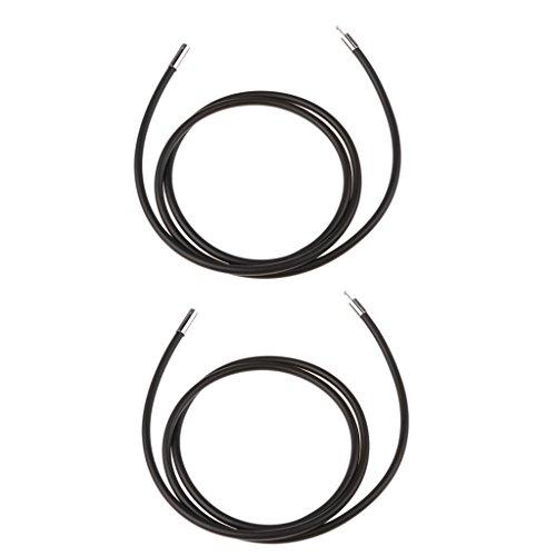Baosity 2pcs Silver Clasp Black Rubber Cord Chain Necklace Bracelet DIY ()