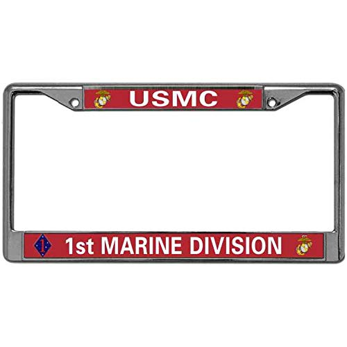 Baolin Onece USMC 1st Marine Division License Plate Frame Support US Army License Plate Aluminum Frame Chrome Plate Frame License Plate Tag Frame for US and ()