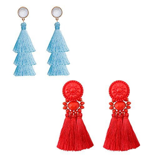 - boderier Bohemian Statement Thread Tassel Chandelier Drop Dangle Earrings with Cassandra Button Stud (Red and Light Blue)