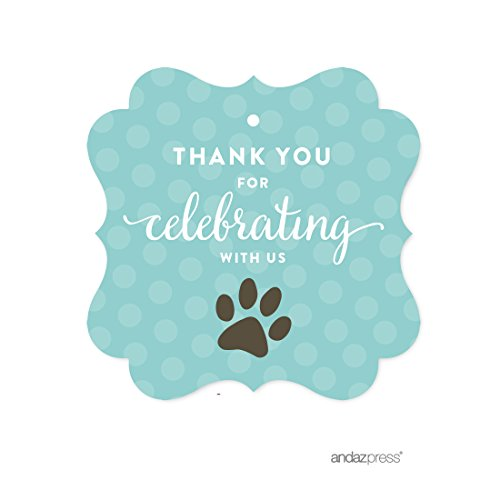Andaz Press Birthday Fancy Frame Gift Tags, Thank You for Celebrating With Us, Animal Pawprint Cat Dog Paw Print, 24-Pack, For Gifts and Party Favors -