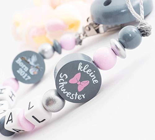 Schnullerkette mit Namen Mädchen Schwester /& Born 2018 rosa grau Babygeschenk